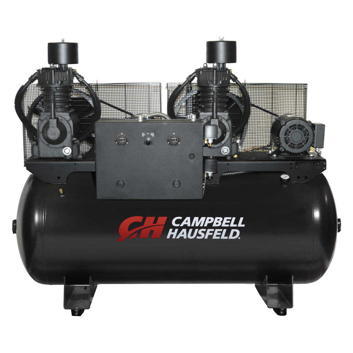 Air Compressor, 120-Gallon Horizontal Two-Stage Duplex 50CFM 15(2x7.5)HP 208-230V 1PH (CE7205)