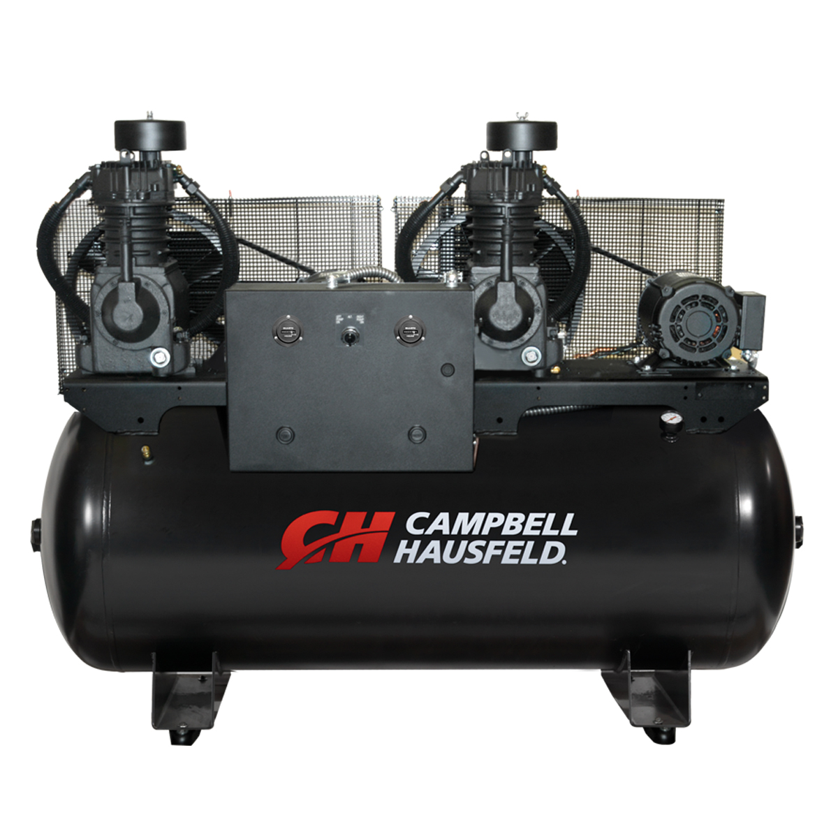 Air Compressor, 120-Gallon Horizontal Two-Stage Duplex 34.4CFM 10(2x5)HP 208-230V 1PH (CE7252)
