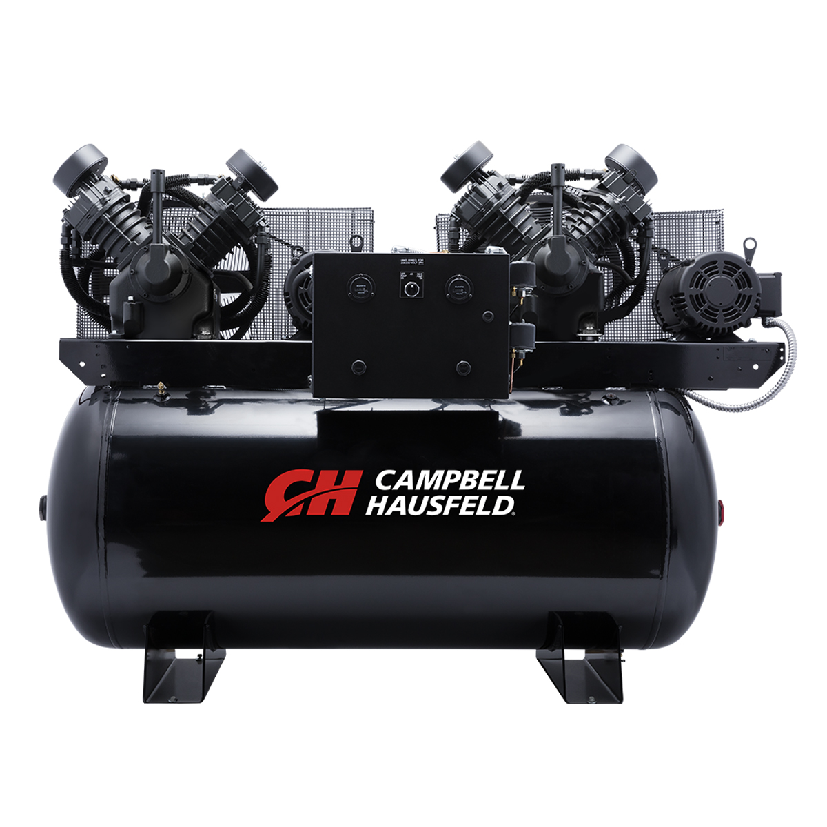 Air Compressor, 200-Gallon Horizontal Two-Stage Duplex 72CFM 20(2x10)HP 208-230/460V 3PH (CE8201)
