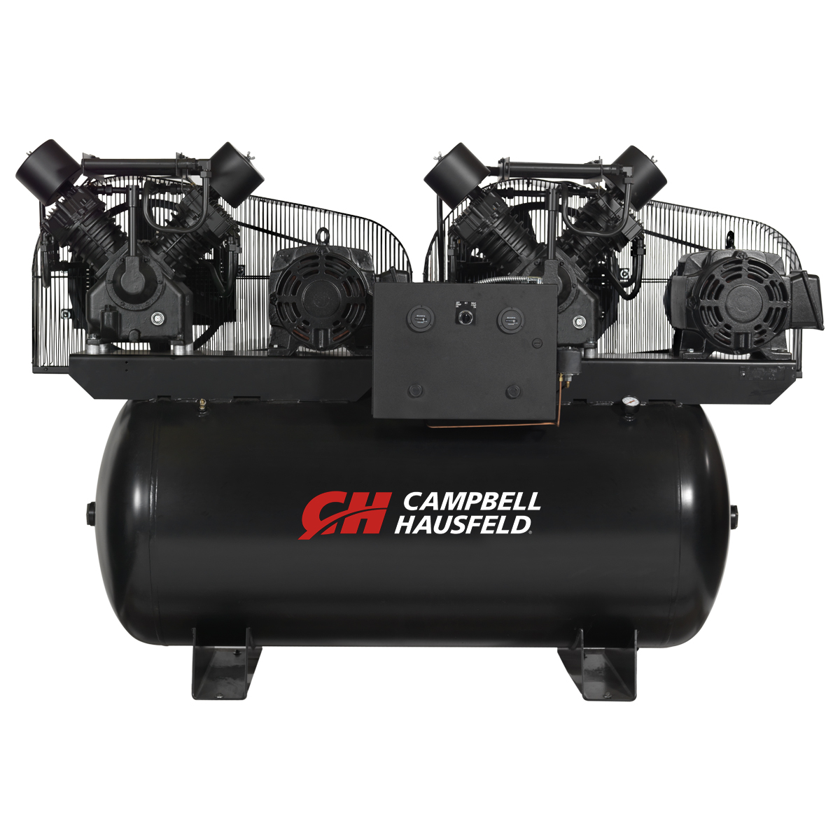 Air Compressor, 200-Gallon Horizontal Two-Stage Duplex 104.8CFM 30(2x15)HP 208-230/460V 3PH (CE8203)