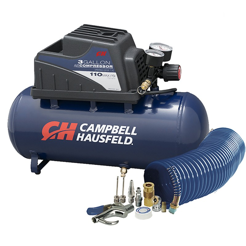 Campbell Hausfeld Air Compressor, 3-Gallon Horizontal Oilless with 10 Piece Kit .36 CFM .33HP 120V 3A (FP209499AV) product image center